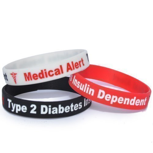 TYPE 2 DIABETES ARMBAND 3ER-PACK 1 X SCHWARZ/1 ROT/1 weiß MEDICAL ALERT DREITON 100% Silikon id-karte Notfall- diabetiker identität gummi Insulin-abhängigen permanent tinte Eingraviertem bänder Diabetes-band