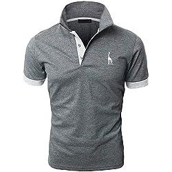 YIPIN Hombre Polo de Manga Corta Bordado de Ciervo Deporte Golf Camisa Poloshirt Negocios Camiseta de Tennis Verano T-Shirt,Gris 1,L