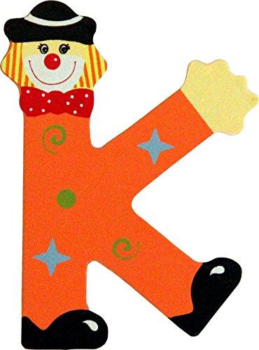 Holzbuchstaben und Zahlen- Clowns - mit Klebepad in zufälliger Farbe - Rimini Baustoffe® - Ideal für Türen und Schränke (Buchstabe K)