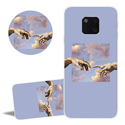 YiCTe Matte Bunte gemalt TPU Fall für Huawei Mate 20 Pro, Art Muster weiche Silikon Rückseiten Abdeckung, dünner transparenter Rahmen-Telefon-hülle,Hand Gottes