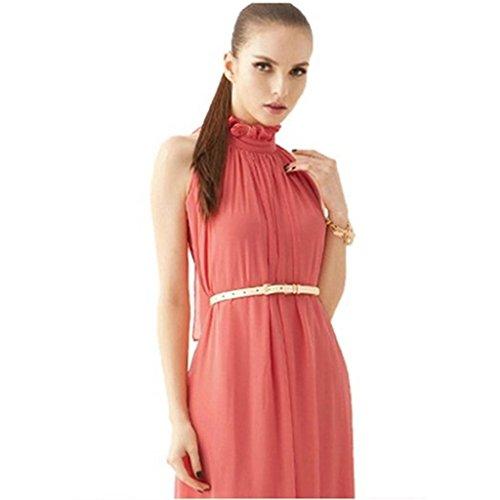 ERGEOB Damen Sommer Kleid Elegante Cocktail Party Floral Kleider Maxi ärmellosen Chiffon Abendkleid Strandkleid Wassermelon rot