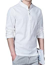 Camiseta de verano, RETUROM Lino formal de los hombres camisetas delgadas de manga larga
