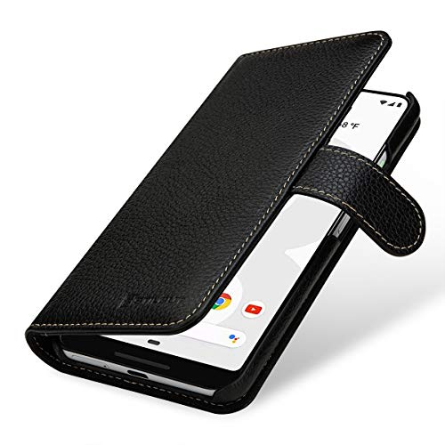 StilGut Brieftasche-Hülle für Google Pixel 3 XL aus echtem Leder, schwarz