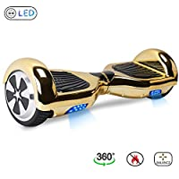 "BEBK Hoverboard Self Balancing Scooter 6.5"" Two Wheel Self Balancing Hover board with LED Lights Electric Scooter for Adult Kids Gift UL2272 Certified (Gold)"