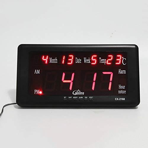 QWER Uhr Startseite Kunststoff Rechteckige Led Elektronische Wecker Stille Temperatur Digital Timer mit Memory-Funktion Chinesisch Englisch Zwei Versionen,Black -