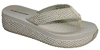 Dunlop Women's Wedge Flip Flop Pool Beach Shoe Sandal Sizes 3-8 (3 UK, Beige Low)