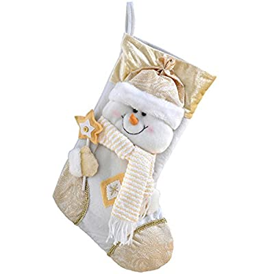 WeRChristmas 48 cm Christmas Stocking with 3D Snowman Head Decoration in Tartan