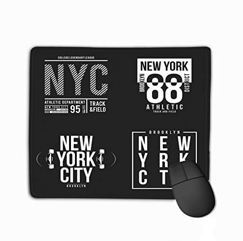 Standard Size Rectangle Non-Slip Rubber Mousepad 11.81 X 9.84 Inch New York Brooklyn Typography Print Athletic Patches Collection Graphic Design New York Brooklyn -