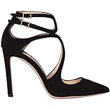4a54df75fe8 Jimmy Choo Femme LANCER100SUEDEBLACK Noir Suède Chaussures À Talons ...