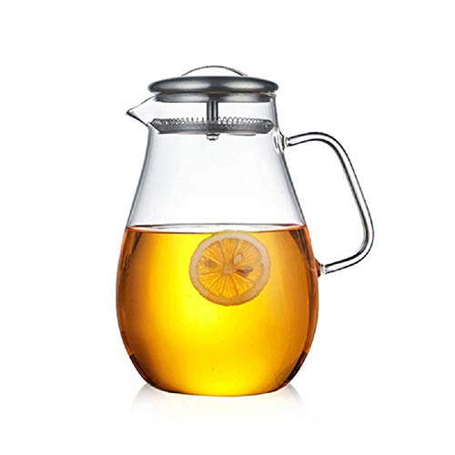 MAISY 2L High Capacity Heatproof Glass Tea Pot with Stainless Steel Lid Filter Mesh for Hot or Iced Tea Coffee Water