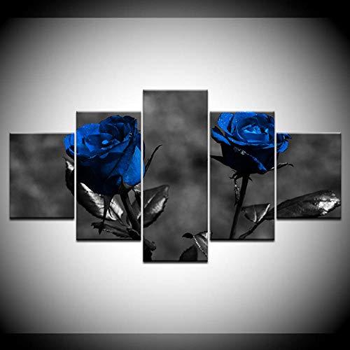 Dekor, Gerahmte Kunst (RYJDDP Leinwand Gemälde Poster Modulare Bilder Leinwand 5 Stücke Blaue Rosen Blumen Gemälde Moderne Kunst Gerahmte Dekor Für Wohnzimmer Wand Home HD Drucke)