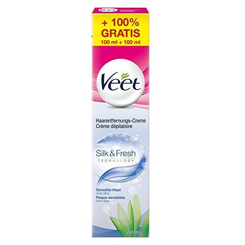 Veet Haarentfernungs-Creme Silk und Fresh sensible Haut, 200 ml (100 ml gratis)