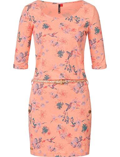 Ragwear Damen Jersey Minikleid Shirtkleid Blumenprint Tanya Flowers Apricot Gr. M - Apricot Flower