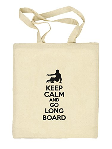 Keep Calm And Go Longboard, Skateboard Natur Stoffbeutel Jute Tasche (ONE SIZE) Natur