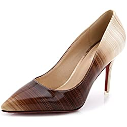SUNROLAN Damen Schuhe High Heel Pumps PU Leder Elegant Stilettoabsatz Party Abend Arbeit Kaffee 39
