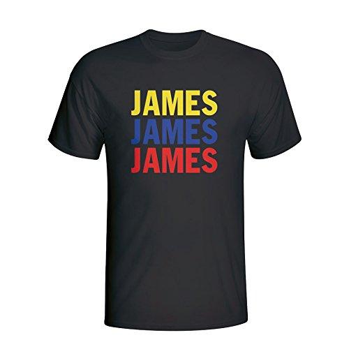 UKSoccershop James Rodriguez Colombia Player Flag T-Shirt (Black)