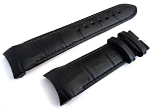 22mm Black Crocodile Curved lug Ended Watch Strap de EIEI