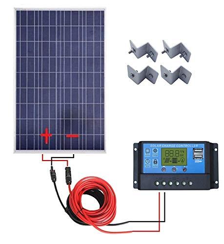Especificaciones del panel solar de 100 W: Potencia relativa: 100 W. Voc: 20,6 V. Vop: 17,3 V. Corriente de cortocircuito (Isc): 6,88 A. Corriente de funcionamiento (Iop): 5,79 A. Tolerancia de salida: ±3%. Coeficiente de temperatura de Isc: (0,10 +/...