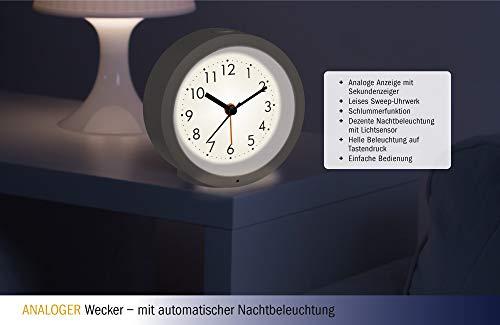 TFA Dostmann Genua 60.1029.02 Analoger Wecker mit Sweep Uhrwerk Kunststoff weiß (L) 105 x (B) 41 x (H) 105 mm
