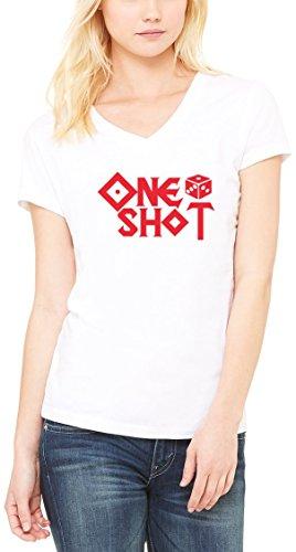 One Shot Dice Gamble Women's V-Neck T-shirt Blanc