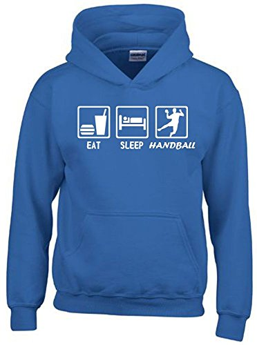 EAT SLEEP HANDBALL Kinder Sweatshirt mit Kapuze HOODIE blau-weiss, Gr.164cm