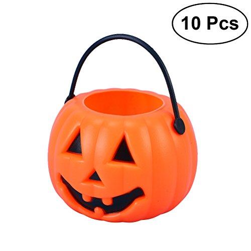 BESTOYARD 10 stücke Halloween Kürbis Candy Eimer Tragbare Kürbis Eimer Kinder Süßes Oder Saures Taschen für Party Favors (Orange)