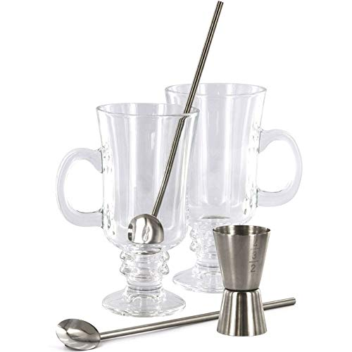 La Chaise Longue 36-2K-015 Set Irish coffee 2 verres à pied bocks avec cuillères pailles et doseur Transparent et gris inox