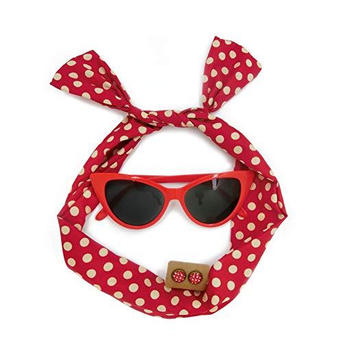 witgift 50er Jahre Kostüm Accessoires 1950s Damen Kostüm Zubehör Set Polka Dot Haarband Polka Dot Ohrstecker Ohrringe Katzenaugen Sonnenbrille (Polka Dot Kostüm)