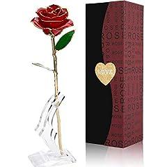 Idea Regalo - Gomyhom Fiore Artificiale, 24K Rosa Regalo Anniversario Matrimonio, Placcato Oro Fiore Romantico Eterno con Confezione Fidanzata, Regalo di Natale, Decorazioni
