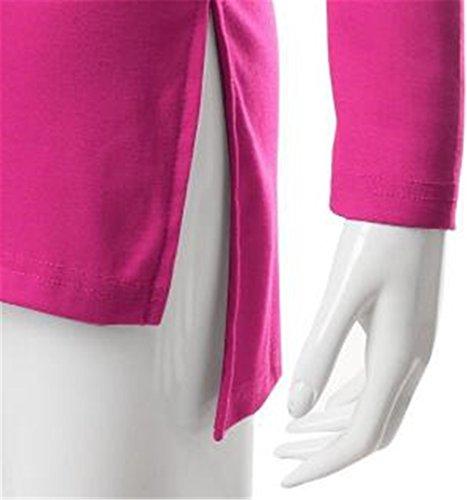 AILIENT Donna T Shirt Semplice Maglie A Manica Lunga Elegante Scollo A V Colore Puro Camicia Blouses Comodo Slim Casuale Blusa Rosy