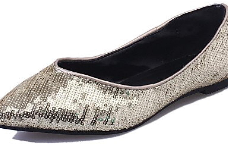 GGX/Damen-Schuhe Leinwand Sommer Spitz Zulaufender Zehenbereich Wohnungen Hochzeit flach Ferse Schuhe Silber/Gold