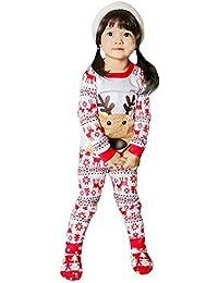Goosuny Kinder Weihnachten Kleidung Kleinkind Baby Mädchen Deer Print T-Shirt Tops + Hosen Christmas Outfits Set Weihnachtspullover Heimservice Sweatshirt Hose