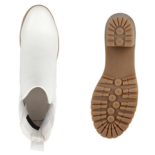 Damen Stiefeletten Chelsea Boots Profilsohle Blockabsatz Schuhe Weiss Weiss