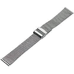 Ritche 18mm Mesh Stainless Steel Bracelet Wrist Watch Band Strap Interlock Safety Clasp Silver