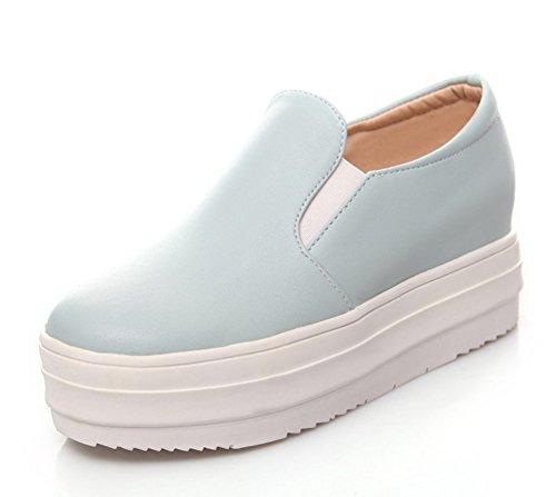Aisun Damen Kunstleder durchgängig Plateau Kurzschaft Slipper Fashion Sneakers Blau