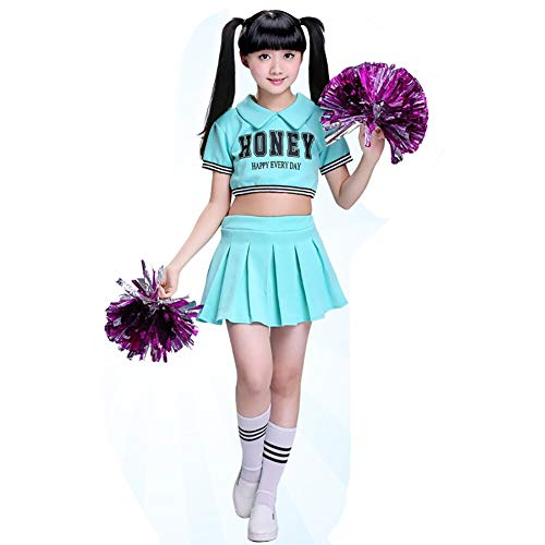 YAGATA Kinder Mädchen Cheerleader Kostüm Minirock Uniform Halloween Kostüm Cheerleader Bekleidung mit 2 Pompoms und Socken für Fasching und Partys,Blau,110 (Blauer Cheerleader Kostüm Kinder)