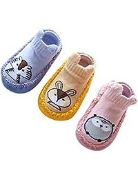 bcac2484c4a Happy cherry Calcetines Prewalker para Recien Nacido Antideslizante  Zapatillas de Piso Estampado Dibujo Animado Algodón Multicolor