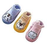 Happy cherry 3Pcs Calcetines Prewalker Antideslizante Zapatillas de Piso Bebes Impresión Lindo Calentito Algodón 14cm 18-24 Meses, Rosa, Amarillo Y Púrpura
