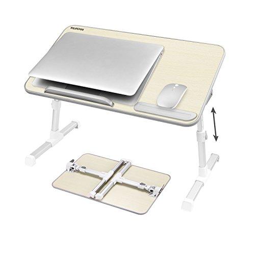 Nearpow Laptoptisch Betttablett,Verstellbar Betttisch Bücherständer,Notebooktisch Tragbarer Schreibtisch, Faltbare Beine Frühstückstisch Notebookständer Table für Sofa, Bett,Computer -