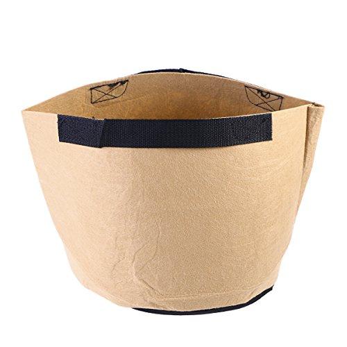 OUNONA Pflanztasche Vliesstoff Pflanzsack mit Griffe 3-Gallonen (Khaki)