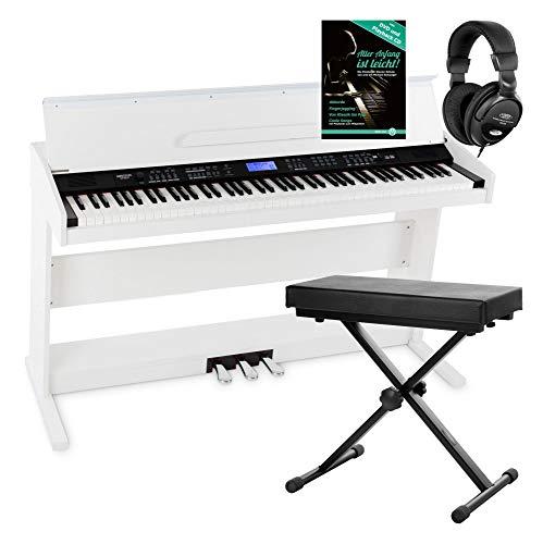 FunKey DP-88 II piano numérique blanc set avec banquette de synthé, casque, méthode d'apprentissage