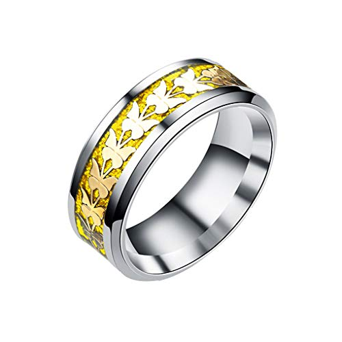 Unisex-Titanstahl Schmetterlings-Ring-Frauen-Mann-böhmische Hochzeit Ring-Schmuck Regard