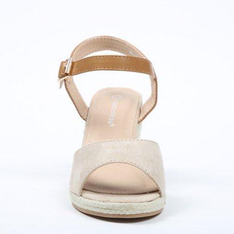 Ideal Shoes - Sandales compensées à bout ouvert et effet daim Anathalie Beige