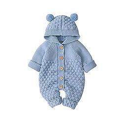 Livoral Baby Winterjacke, Neugeborenes, Baby, Junge, Warmer Wintermantel, Strickjacke, Kapuzenoverall(Blau,3-6 Monate)