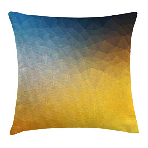 Gelbe und blaue Dekokissen Kissenbezug, abstrakte Polygon-Stil Fraktal Farbverlauf geometrische Hintergrundkunst, dekorative quadratische Akzent Kissenbezug, 18 X 18 Zoll, Schiefer blaue Ringelblume -