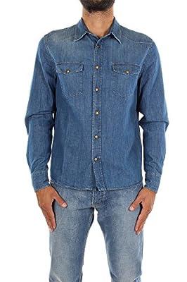 GEC028BLEU Prada Shirts Men Cotton Blue