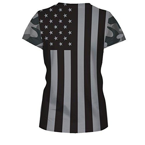 Jiayiqi Unisex Funky Digitaldruck T-Shirt 3D Grafik Kurzarm T-Shirts Stars And Stripes