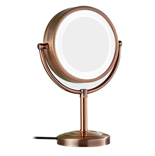 BYCDD Desktop-Spiegel, LED-beleuchtete Badezimmerschönheit Make Up Spiegel Ideal für Rasur und Make-up,Red Bronze_8.5 inch 5X (Bronze-beleuchtete Make-up-spiegel)