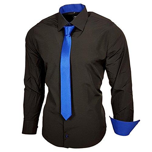 Schwarz Herren Hemd mit Krawatte Kontrast Langarm Polo Shirt Party Slim Fit R-44, Farbe:Schwarz / Sax;Größe:3XL (Kontrast Polo)