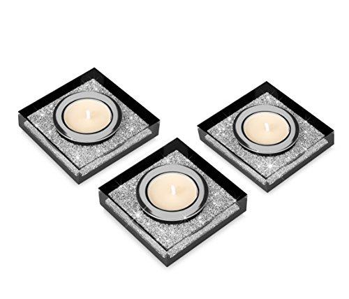 Edle Teelichthalter Lotus 1 mit SWAROVSKI ELEMENTS Kristallen | Funkelnde Tischdeko | Moderne Dekoration Wohnung (3er Set, schwarz) - Messing-glas Kerze